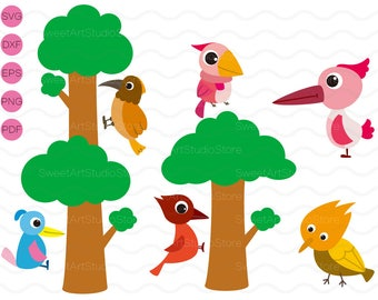 Woodpecker Clipart , Bird , Tree Svg ,  cricut, cameo, silhouette cut files commercial & personal use