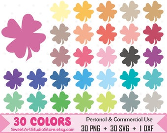 Clover Clipart, lucky planner SVG Silhouette Cricut Cut File Commercial Use (Png Svg Dxf)