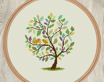 TREE AND BIRDS cross stitch pattern Wedding gift for couple Nature xStitch Green Yellow Gold Purple Turquoise