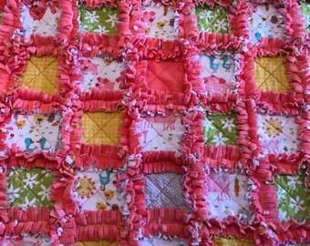 Farm Animal Minky Rag Quilt / Handmade / Free Shipping