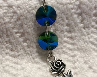 Sparkling green blue rhinestones silver rose charm on stainless steel 14g industrial body jewelry, blue, black, silver, rainbow barbell