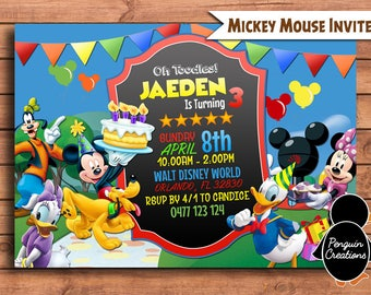 Mickey Mouse Club House Invitation. Mickey Mouse Birthday Party. Party Supplies.