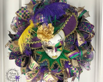Deco Mesh Mard Gras Mask Wreath, Mardi Gras Door Decor, Mardi Gras Decoration, Mardi Gras Decor