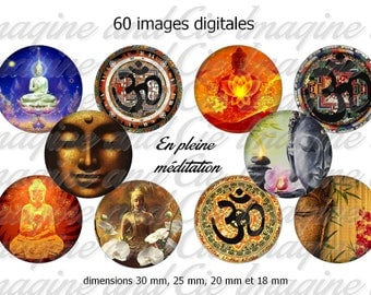 60 digital images for cabochons, scrapbooking, diameter 30, 25 jewels, 18 and 20 mm themed Buddhism (Buddha)