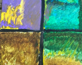 Four Corners-acrylic painting-earthy colors,abstract,stretch cotton canvas,nature,12 x 12 inches