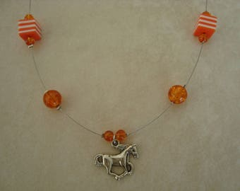 Silver galloping horse necklace orange bead for girl