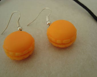 Orange macaron pendant earrings