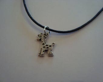 Necklace pendant small silver plated giraffe