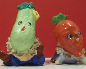 Anthropomorphic Vegetable Salt and Pepper Shakers