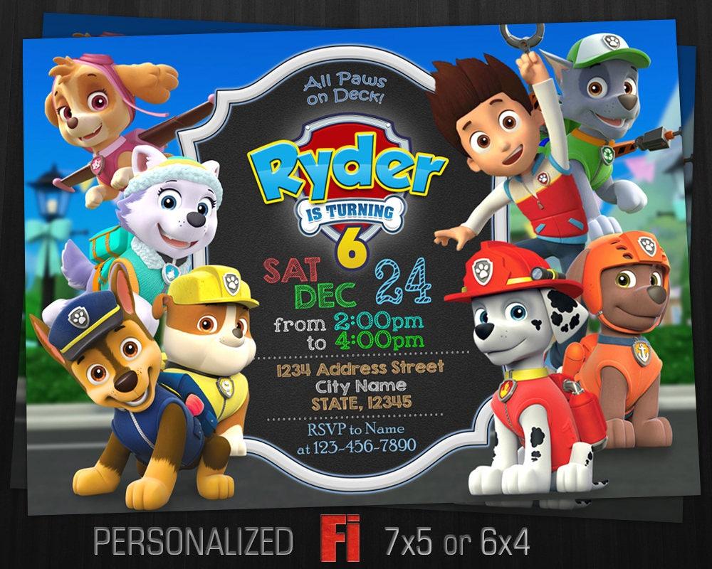 Paw patrol party invitations