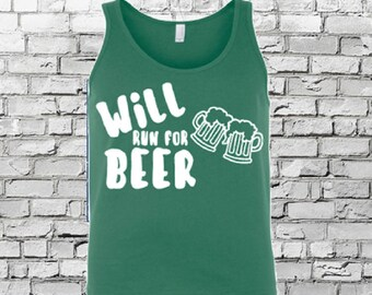 WILL RUN for BEER*funny marathon tank/funny running tank/5k tank/beer lover tan/plus size running tank/st patricks race tank/funny beer tank