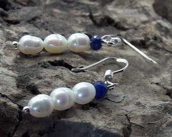 Sapphire Pearl Sterling Silver Earrings/Wedding Earrings/Bride     /Bridesmaid/September Birthstone/June Birthstone/Gift for Her