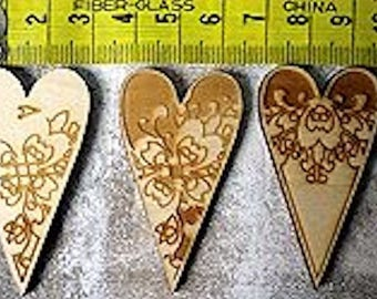 set of 180 embellishment for your creations wooden heart
