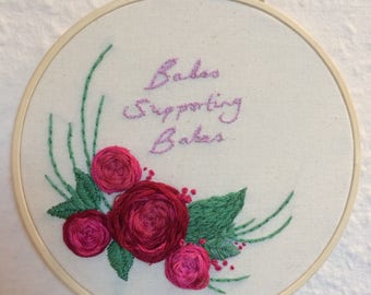 Babes Supporting Babes, feminist hand embroidery hoop floral wall art feminisim