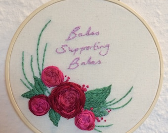 Babes Supporting Babes, feminist hand embroidery hoop