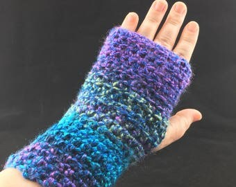 Fingerless gloves mitts texting hand wrist warmers varigated blue green purple
