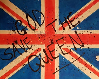 "Original art by CraigJRich via CJaRtByCraig ""God save the Queen"" hand painted on canvas"