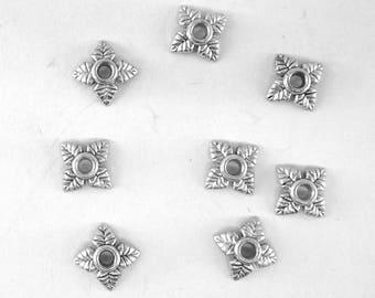 30 bead caps antique 5.5 mm cals015 leaf shape silver colored metal