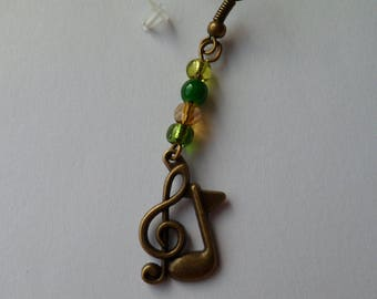 "Bronze earrings ""the notes and key"""