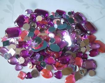 x 285 mixed rhinestones/diamonds rose tone facet sticking acrylic