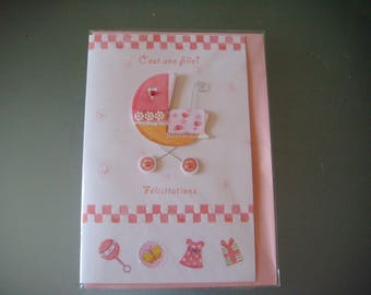 "x 1 card of congratulations baby ""it's a girl"" 3D glittery 17,5 x 11,5 cm"