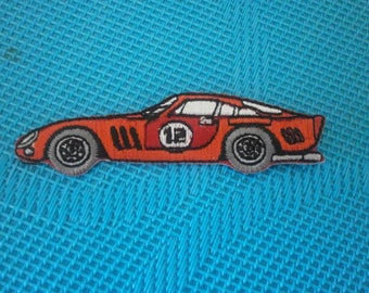 100% polyester fusible applique red racing car