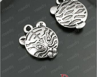 10 charms antique silver 15 * 14mm E27980 small tiger head