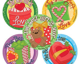 "20 Best Gift Is Love Holiday / Christmas Stickers, 2.5"" x 2.5"" Each"