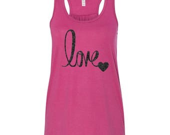 LOVE Tank, Valentines Day Shirt, Custom Valentines Day Gift, Gift for Her, Youth Valentines Day Shirt, Love, Heart, Valentines