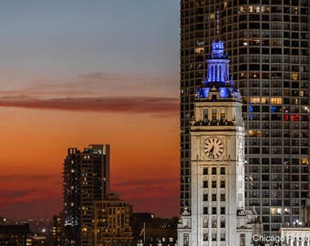 Chicago Sunset   Chicago Skyline   Chicago Affordable Wall Art   Chicago Photography   Wrigley Building   Color Photography   Fine Art