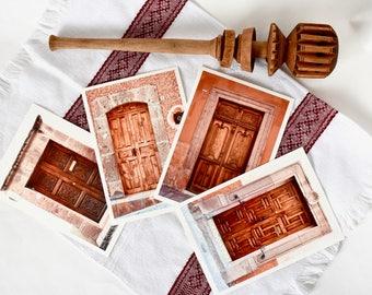 Mexico Door Photography Prints from San Miguel, Set of 4 Wood Doors