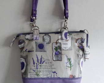 Provence lavender, zip closure, background and faux leather handles and bag