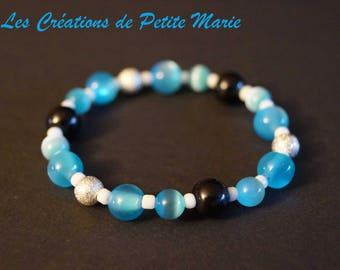 "Gift - elastic Bracelet black beads and blue cat's eye - ""Stardust"" silver"