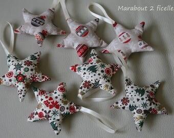 Fabric Christmas ornaments: holiday stars