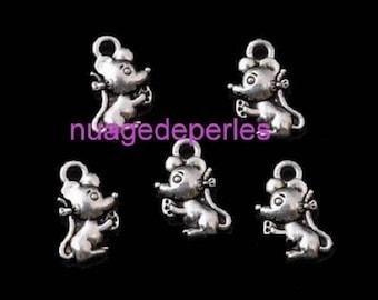 5 Tibetan silver mouse charms