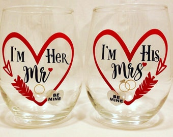 2 Pack Valentine's Day I'm Her Mr. I'm His Mrs. Wedding, Wedding Shower, Engagement, Party, Cocktail, Stemless Wine Glasses