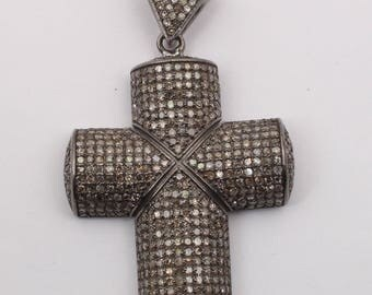 Pave Diamond Pendant# Diamond Cross Pendant# Cross Pendant #Pave Cross Pendant# 92.5 Sterling Silver Pendant
