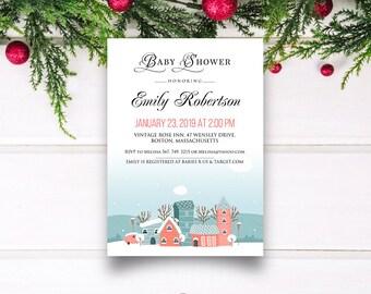 Girl Baby Shower Winter Invitation Printable Baby Shower Invites Template Winter Houses Baby Shower Invitation Teal Pink Invitation Editable