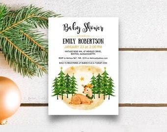 Woodland Baby Shower Invitation Baby Deer Invitation Winter Holiday Printable Baby Shower Invites Stars Forest Animal Invitation Editable