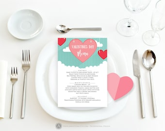 Valentine Menu Card Wedding Printable Menu Template Rehearsal Dinner Menu Valentine Hearts Engagement Menu Anniversary Menu Digital Download