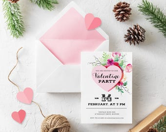 Valentine Pink Heart Invitations Valentine Day Printable Invites Floral Love Invitation Watercolor Flowers Party Invitation Instant Download