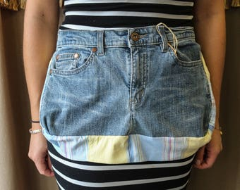 Yellow and Blue Stripe Jean Apron