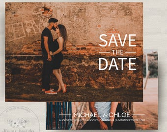 Simple Save The Date Template, Printable Save The Date, Save The Date Card, DIY Save The Date, Instant Download, PSD Template, 5x7 Card