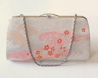 Japanese Vintage Kimono Clutch Evening Bag / Handbag Floral Beige Pink with Optional Chain Handle