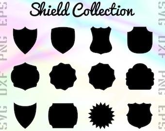 Shield SVG Files - Shield Clipart - Shield Cricut Files - Emblem Dxf Files - Emblem Cut Files - Shield Png - Svg, Dxf, Png, Eps Vectors