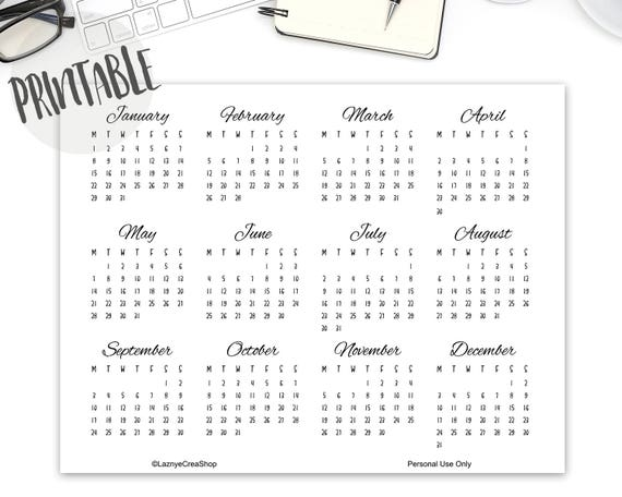 Kalender 2018 Aufkleber Sticker Monat Monatliche Aufkleber