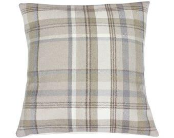 Skye Taupe Checked Tartan Plaid Cushion Cover