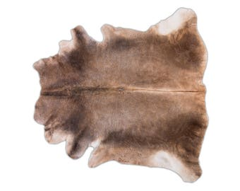 """Unique European Natural Cowhide Rug, Hair-On-Hide Genuine Bovine Leather, Hand Tanned in Europe, Superior Quality, Brown Gray, 5'7"""" x 6'3"""""""