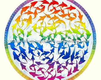 Harmony Rainbow Fish Colorful Mandala Original Abstract Drawing
