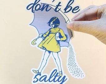3 pc planner sticker morton salt girl sticker vinyl vintage parody adhesive vinyl decal